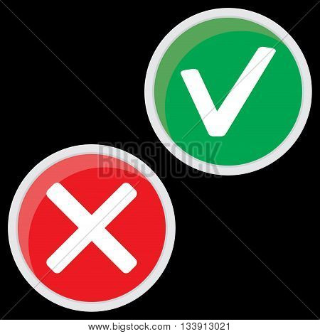 Positive and negative mark. Color symbol for choice ok mark illustration and decision wrong vector