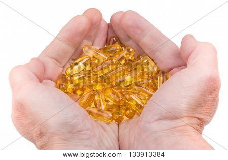 Handful Of Softgels Fish Oil In Male Hands