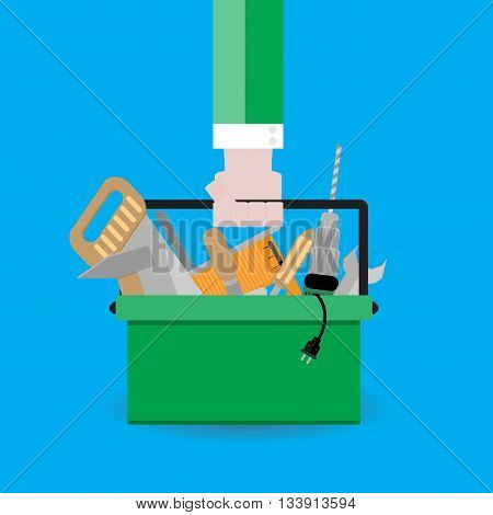Hand holds toolbox. Tools for repair and illustration of toolkit vector