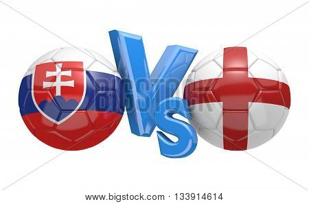 Football competition between national teams Slovakia and England, 3D rendering