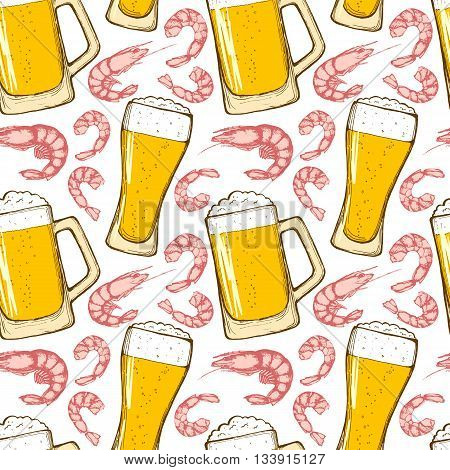 Beer and shrimps seamless pattern. Glasses of beer hand-drawing shrimps. Vector