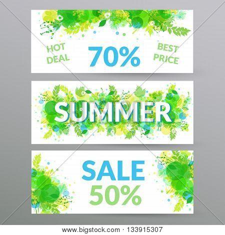 Floral summer sale web banners. Vector illustration.