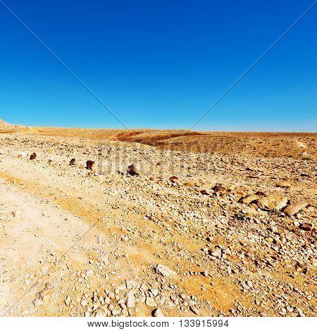 Stones of Grand Crater in Negev Desert Israel