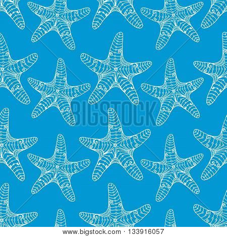 Starfish seamless pattern white on blue. Repeating hand-drawing starfishes with ethnic doodle and zentangle elements. Vector.