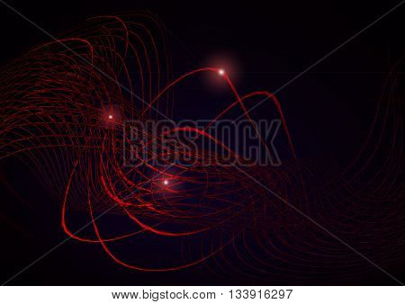 Bright shimmering twisted red stripes and red glare on a black background