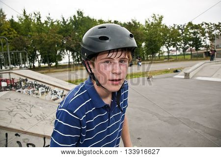 Boy With Drop Of Sweat In Face