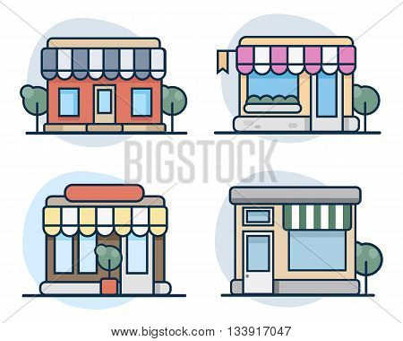 Set of vector flat line icon design shops , store and supermarket  facade icons.