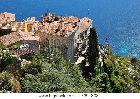 Eze France - april 19 2016 : the small old village starred hotel
