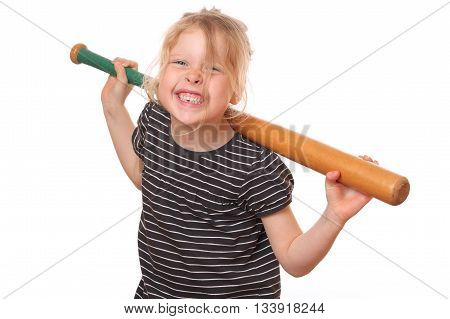 Portrait of a young girl with baseball bat on white background