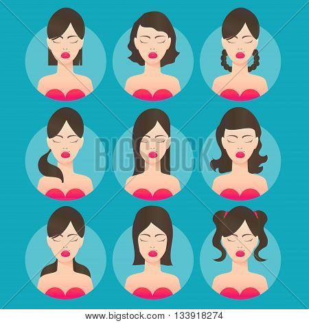 Women hairstyles. Avatar. Young brunette woman with various hair style. Different Beautiful portrait women. Set of round icons with women. Vector design illustrations.