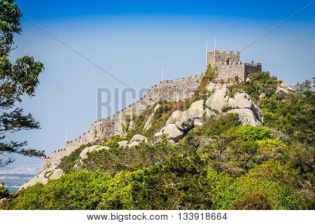 View of the Moors Castle in Sintra Portugal