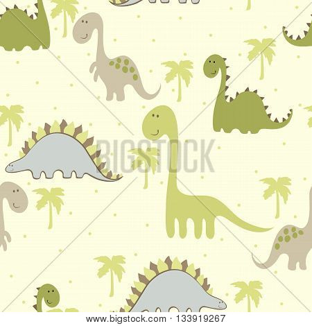 vector art seamless pattern with Cartoon dinosaur