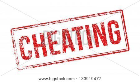 Cheating Red Rubber Stamp On White