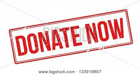 Donate Now Red Rubber Stamp On White