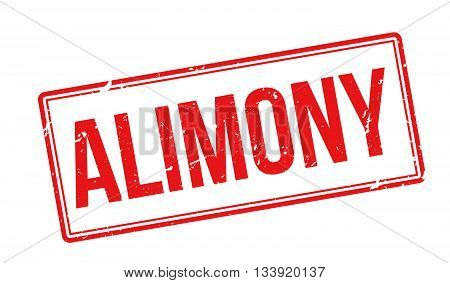 Alimony Red Rubber Stamp On White