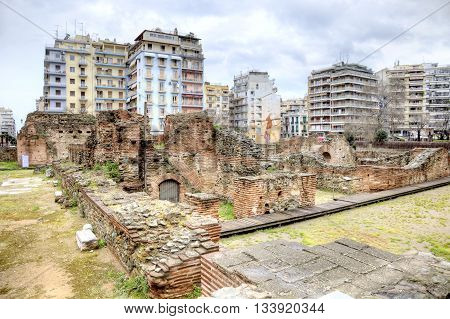 THESSALONIKI GREECE - March 14.2016: Ruins of the ancient buildings of the Roman Forum or the Ancient Agora in the historic center of city