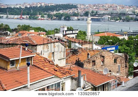ISTANBUL TURKEY - JUNE 19 2015: Panoramic view of european part of Istanbul Turkey