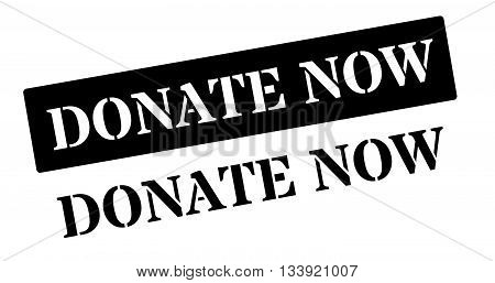 Donate Now Black Rubber Stamp On White