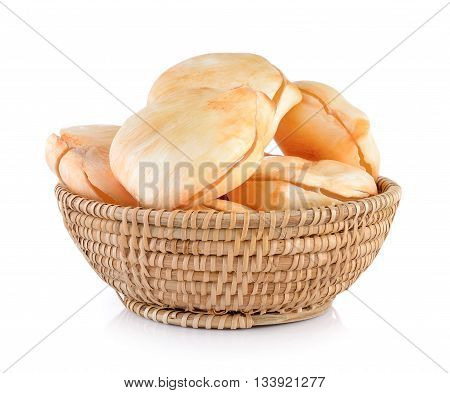 Asian Palmyra palm Toddy palm Sugar palm in basket on white background