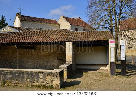 Sagy France - march 3 2016 : the picturesque village in winter