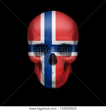 Human skull with flag of Norway. Threat to national security war or dying out