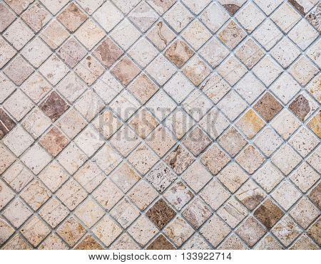Abstract marble textured mosaic tiles in neutral color with hi-contrast tone