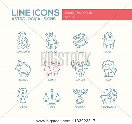 Set of modern vector plain line design icons and pictograms of 12 zodiac signs. Capricorn, aquarius, pisces, aries, taurus, gemini, cancer, leo, sagittarius, virgo