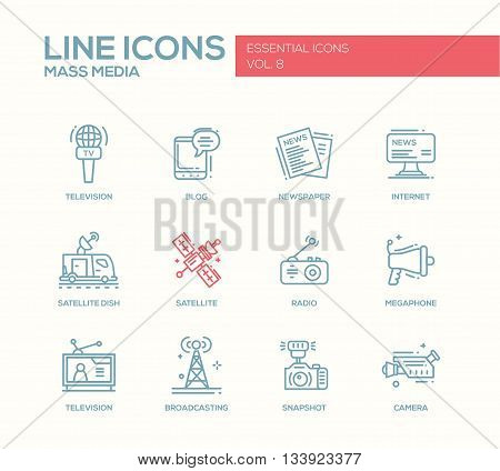 Set of modern vector plain simple line design mass media icons and pictograms. Tv, newspaper, blog, internet, radio satellite, megaphone, broadcasting, camera, snapshot