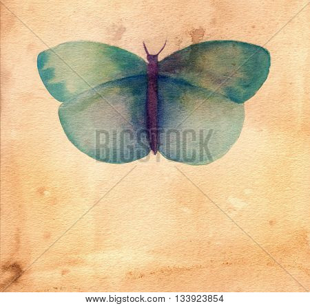 A watercolor drawing of a blue butterfly on a piece of aged paper with copyspace; a greeting card or invitation design template