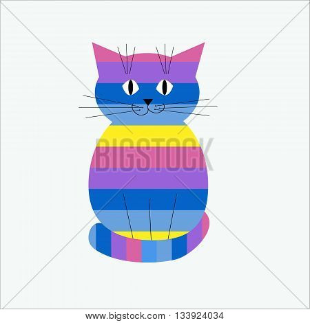 The striped decorative and cute stylized cat