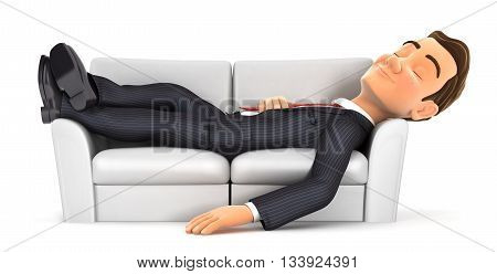 3d businessman sleeping on sofa , illustration with isolated white background