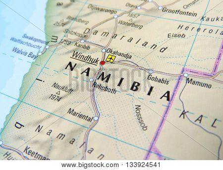 Map with focus set on Windhoek, Namibia.
