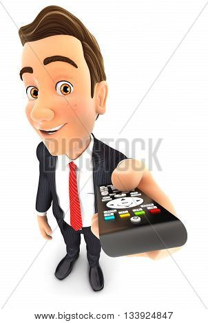 3d businessman holding television remote control illustration with isolated white background