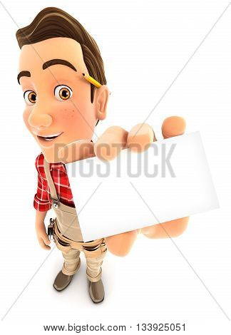 3d handyman holding company card illustration with isolated white background
