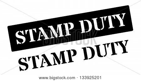 Stamp Duty Black Rubber Stamp On White