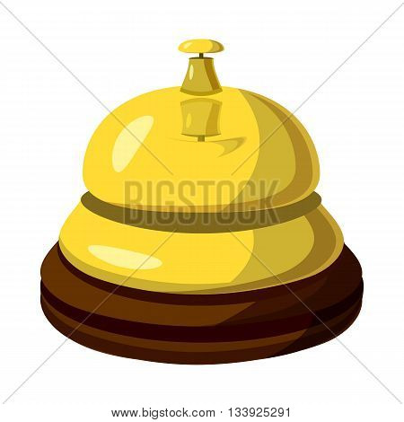 Golden reception bell icon in cartoon style on a white background