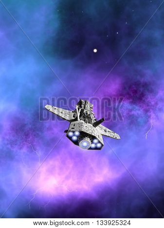 Science fiction illustration of an interplanetary spaceship flying towards a purple nebula in deep space, 3d digitally rendered illustration (3d rendering, 3d illustration)