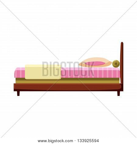 Bed icon in cartoon style on a white background