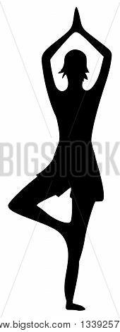 black Yoga Silhouette on white Background - illustration