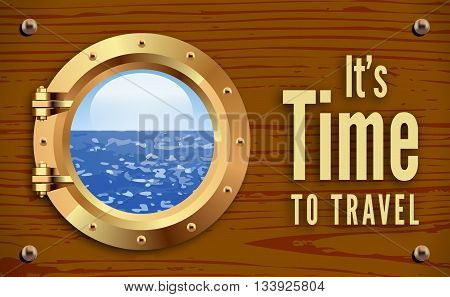 Ship bronze porthole on wooden background. Vector illustration