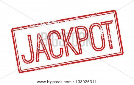 Jackpot Red Rubber Stamp On White