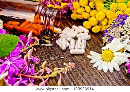 Capsules in a brown jar and on the table, flowers of fireweed, tansy, chamomile, clover, yarrow, meadowsweet, mint leaves on a background of wooden boards