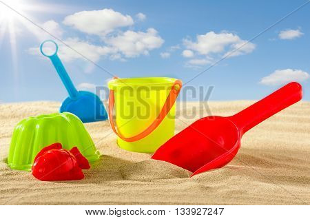 Colourful Beach Toys For Kids In The Sand
