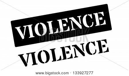 Violence Black Rubber Stamp On White