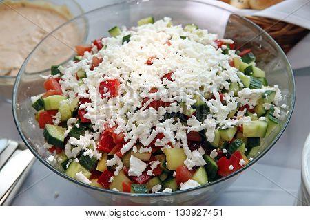 Fresh Greek Salad With White Greek Goat Cheese
