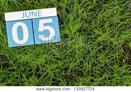 June 5th. Image of june 5 wooden color calendar on green lawn grass background. Summer day.