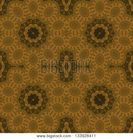Abstract geometric seamless background. Ornate floral ornaments gold, ocher and dark brown.