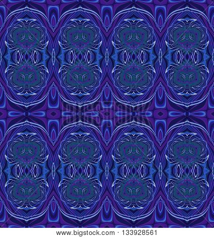 Abstract geometric seamless background. Regular ornate ellipses pattern in purple, pale green, black and blue shades, ornate and extensive.