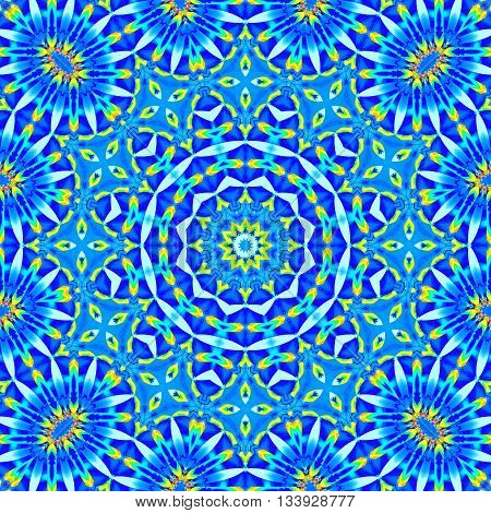 Abstract geometric seamless background. Ornate concentric ornament in blue shades with turquoise and yellow.
