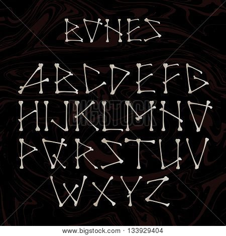 Alphabet made of crossed white bones.White vector silhouette uppercase alphabet letters shaped as bones isolated on black for Halloween, pirates, medical and horror .